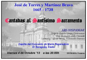 JOSÉ DE TORRES Y MARTÍNEZ BRAVO. Cantadas al Santísimo Sacramento. ENSEMBLE ARS HISPANIAE