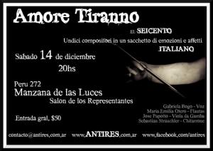 """El ensemble Antires, despide el 2013 con """"Amore tiranno, el seicento italiano"""""""