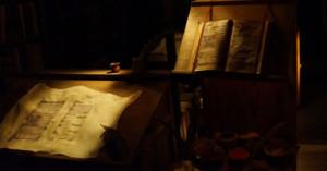 En el Scriptorium, cantigas de Alfonso X